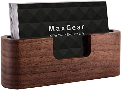 MaxGear Business Card Holder Wood Business Card Holder for Desk Business Card Display Holder Desktop Business Card Stand for Office,Tabletop - Oval