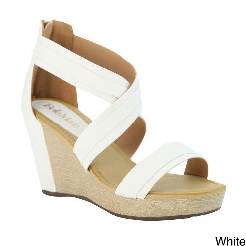 Bella Marie Bellamarie Nxt-14 Vrouwen Kriskras Enkelbandje Terug Zip Wedge Platform Sandaal Wit