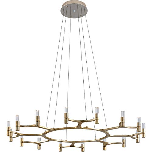Chandeliers 16 Light Bulb Fixture with Silver Leaf Finish Hand-Crafted Iron and Crystal Integrated 5