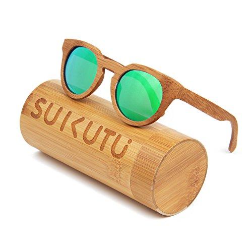 SUKUTU Taille de Lunettes Vert Bambou Homme soleil unique fwfrqv