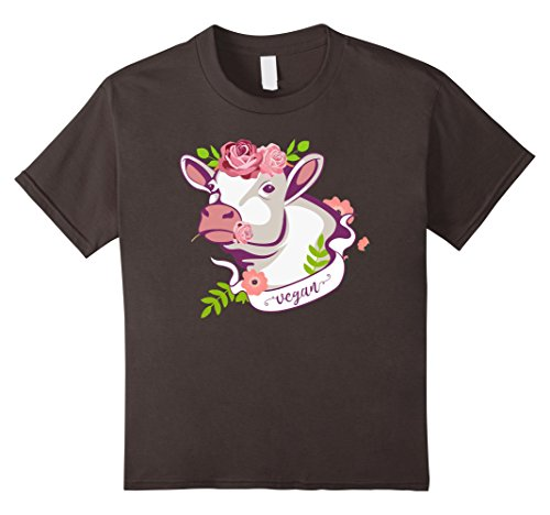 Price comparison product image Kids Vegan Cow T-Shirt - Dairy-Free Moo Vegan Shirt 8 Asphalt