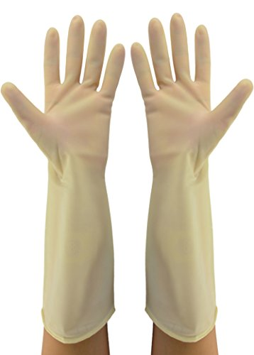 Cleanbear Reusable Nitrile Gloves, Latex Free, Medium, 2 Pairs. (15 inch) (Dishwashing Brush Stand compare prices)