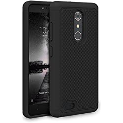 ZTE Zmax Pro Case, ZTE Carry Case, Pasonomi [Slim Fit] [Shock Absorption] Armor Hybrid Dual Layer Defender Protective Case Cover for ZTE Zmax Pro / Carry Z981 Phone (Black)