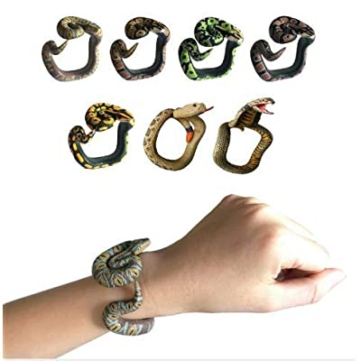 Royu 4 Piece PVC Toy Snake Bracelet, Halloween Party Realistic Snake Bracelet Fake Snake Wrist Band Scary Mischievous Toys Novelty Party Supplies and Practical Joke Toys: Toys & Games