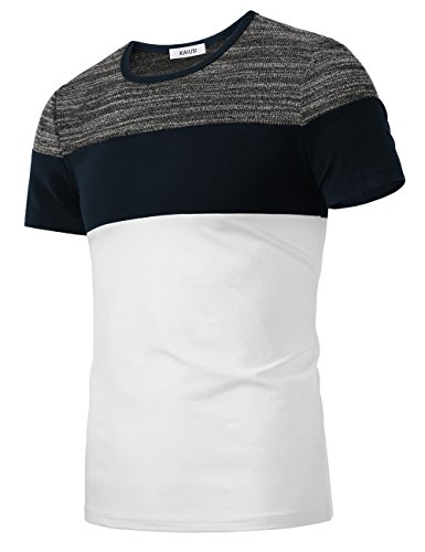 KAIUSI Color Block Tops, Men's Short Sleeve Casual Crew Neck Contrast T-Shirt Top Small White
