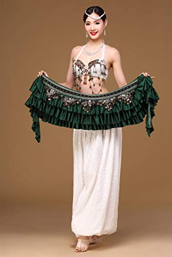 Belly Dance Hip Women Scarf Belly Belt Dancing Wrap Coins Bellydance Tribal Clothes Gypsy Costume Accessories 3 Color (Blackish Green)