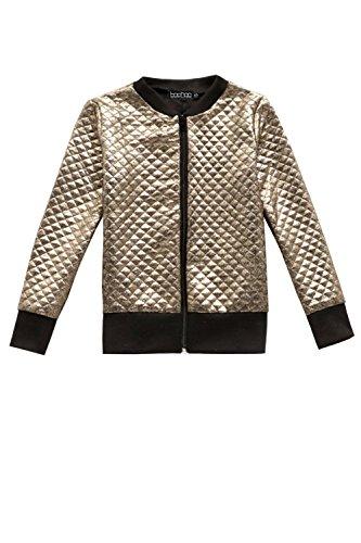 Boohoo Kids Girls Metallic Quilted Bomber Jacket In Gold Size (Girls Quilted Bomber Jacket)