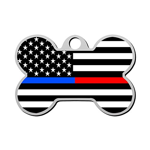 GcTck Personalized Double Sided Print Thin Red Line & Thin Blue Line Dual Flag Dog Tags Pet ID Tag,Customizable Information Pet Badge for Dogs Cats