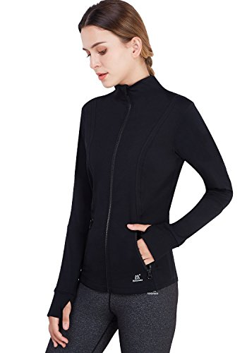 Matymats Women's Active Full-Zip Track Jacket Yoga Running Athletic Coat With Thumb Holes,Large,Black by Matymats (Image #2)