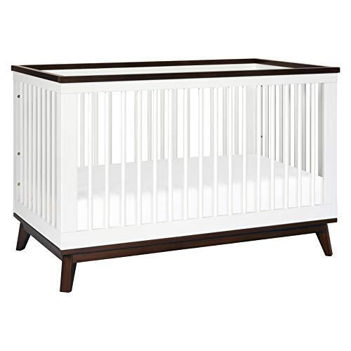 Babyletto Scoot 3-in-1 Convertible Crib with Toddler Bed Conversion Kit, White / Walnut (Sets Crib Furniture Walmart)