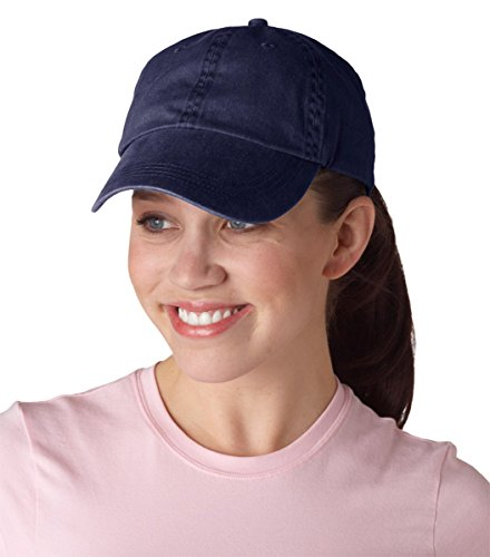 Anvil Men's Unconstructed Low Profile Pigment Dyed Twill Cap, Navy, One (Anvil Cotton Hat)