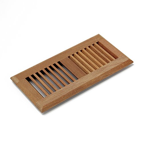 Wood Insert Register Floor - 4 X 12 Inch Santos Mahogany Wood Self Rimming Floor Register Vent Cover Unfinished by WELLAND