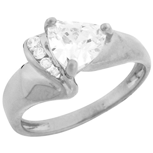 Trillion Sides Ring - 10k White Gold Trillion Cut CZ Ring Round Channel Set Side Accents
