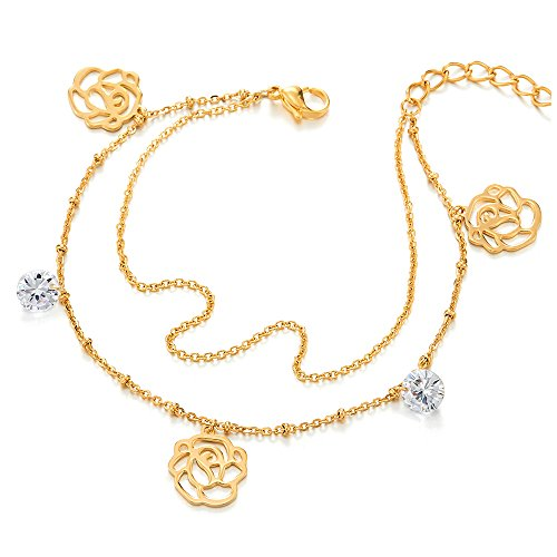 COOLSTEELANDBEYOND Steel Gold Two-row Anklet Bracelet with Dangling Charms of Rose Flower, Cubic Zirconia, Jingle ()