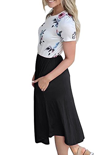 Short Women's Pleated Dress Bluetime Black Casual Midi Floral Swing Patchwork Sleeve Print w6ExOd