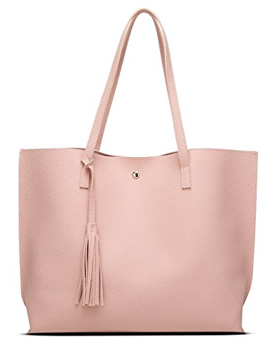 Women's Soft Leather Tote Shoulder Bag from Dreubea, Big Capacity Tassel Handbag Pink by Dreubea