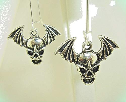 Petite 3-D Winged SKULL Silver-tone Drop Dangle Earrings 1-5/8