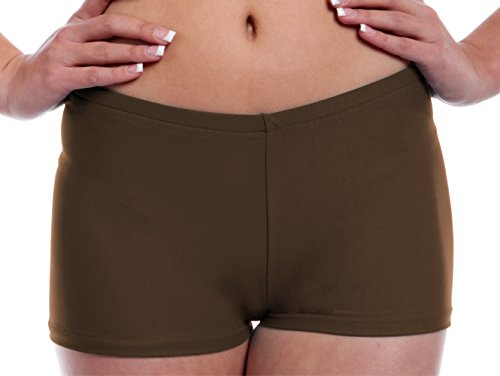 Womens Booty Shorts With Stretch For Dance, Yoga, Working Out, Exercise and Running Medium Brown Adult Sizes By B Dancewear