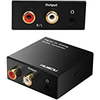 Musou 3.5mm Digital to Analog Audio Converter-Optical S/PDIF Toslink/Coaxial to RCA L/R, 24-bit DAC with Fiber Cables,Black