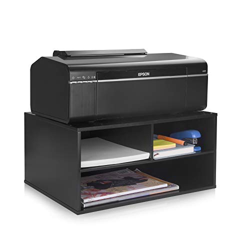 Office Table 3 Shelf (eMerit Wood Two-Tier Printer Fax Stand Shelf Riser Paper Organizer for Home Office,Black)
