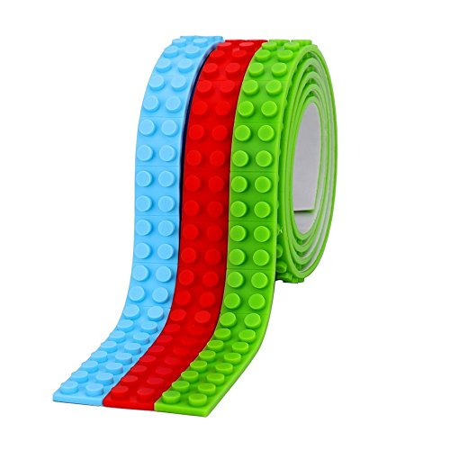 GHESMO Lego Tape- Glow in The Dark- Mega Blocks Lego and other Building Blocks Compatible- Crazy Silicone Loops- Magic Sticky on Walls, Floors 3 Pack Self-Adhesive Toy Tapes Set: Green Blue and - Flexible Self Adhesive Dots