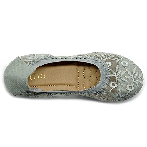 Ollio Scarpe Da Donna Ricami Floreali Pizzo Slip On Comfort Light Ballet Flat Grey