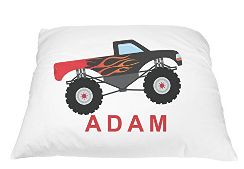 Monster Truck Personalized Kids Pillowcase, Truck Pillow, Toddler Pillowcase, Truck Pillowcase, Best Toddler Pillow, Monster Truck Pillow Microfiber Pillowcase 20x30 Inches (Black) - Kids Personalized Name Pillow