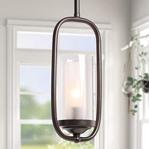 LALUZ A03177 Pendant Lighting for Kitchen Island,Glass Shade Modern Farmhouse Hanging Ceiling Lamp,Brown Finished