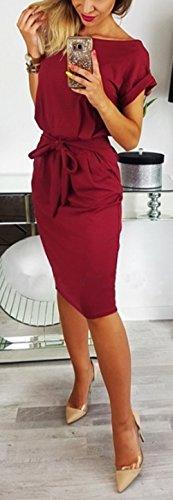Lisos Manga Midi Fiesta con Vestidos de Verano Vendajes Moda Tinto Vino Redondo Mujer Elegante Cóctel Colores Vestido Slim Cuello Corta Partido qwI1C7px