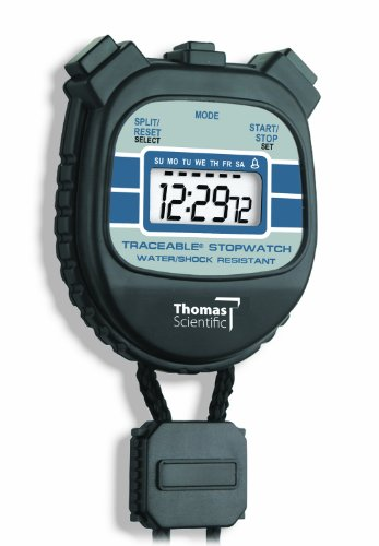 "Thomas 1045 Traceable Water and Shock Resistant Stopwatch with 1/2"" High LCD Display, 0.01 Percent Accuracy, 2 3/8"" Length x 2 1/8"" Width x 1/2"" Thick"