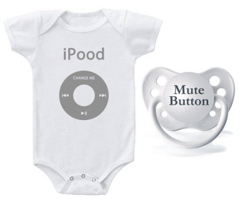 Amazon.com: Kiditude iPOOD bebé Onesie Y Chupete Set, Color ...