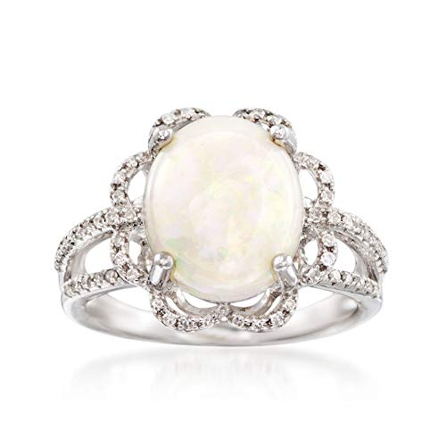 (Ross-Simons Opal and .21 ct. t.w. Diamond Ring in 14kt White Gold)