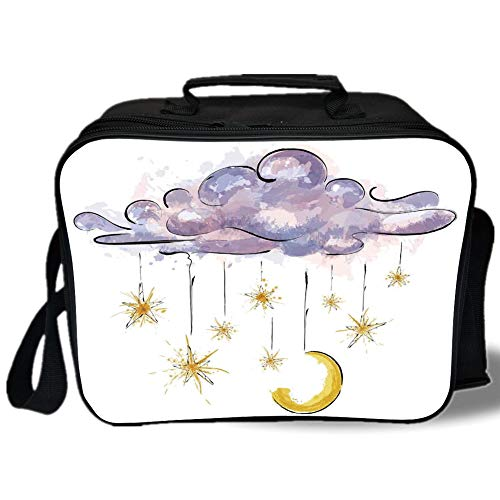 - Astrology 3D Print Insulated Lunch Bag,Image of Hanging Moon and Stars on Fairy Cloud at Night Horoscope Home Decorative,for Work/School/Picnic,Violet Orange