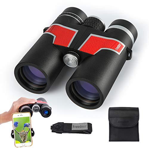 FREEDEER 10x42 Binoculars for Adults, Low Light Night Vision Compact HD Waterproof Fogproof Telescope for Bird Watching Stargazing Hunting Concerts Sports Travel with Smart Phone Adapter Carrying Case