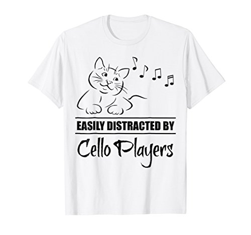 Curious Cat Easily Distracted by Cello Players T-Shirt