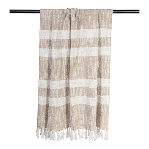 DII Rustic Farmhouse Cotton Stripe Blanket Throw with Fringe For Chair, Couch, Picnic, Camping, Beach, & Everyday Use , 50 x 60