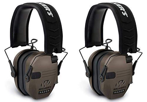 Walkers GWPRSEMFDE Razor Slim Folding Electronic Earmuff 23 dB Flat Dark Earth - 2 Pack by Walker's Game Ear