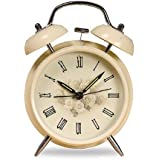 "Retro Vintage Non-ticking Metal Alarm Clock, Bell Alarm Clock, Cream White Table Desk Alarm Clock, Rose Flower Floral Clock, Antique Style 4"" Loud Alarm Clock"
