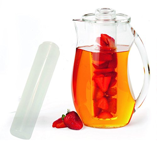 Infused Water Pitcher: Shatterproof Acrylic, Best for Fresh Healthy Homemade Fruit Flavored Infusion Drinks, Iced Juice & Beverage, 93 Oz (3 Quart), with Ice Core & Free Infusing Water Recipes E-book (Frozen Water Pitcher compare prices)