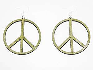 Natural Wood Peace Sign Wooden Earrings