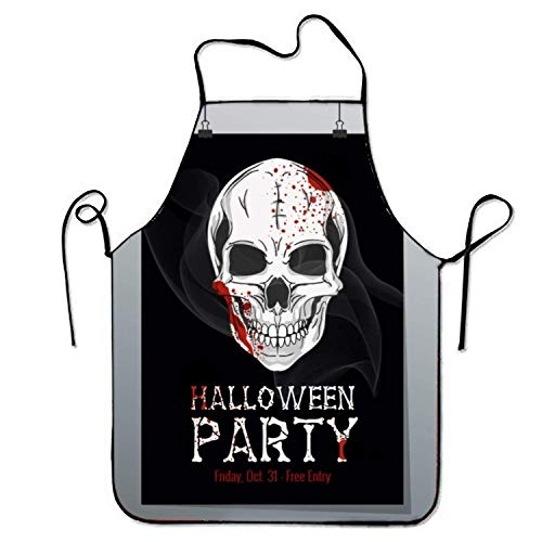 Halloween Printable Flyer Kitchen Cooking Apron For Women And Men Adjustable Neck Strap Restaurant Home Kitchen Apron Bib For Cooking, BBQ for $<!--$5.49-->