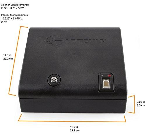 Artemis Biometric Gun Safe / Handgun Safe – Quick Access to your pistol by fingerprint or key (Stores up to 200 unique fingerprints)