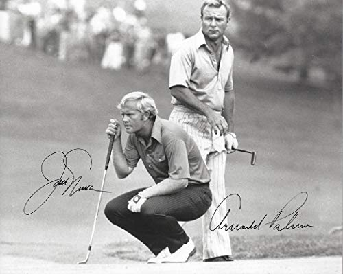 2X AUTOGRAPHED Arnold Palmer & Jack Nicklaus (Dual Signed) Vintage PGA Golf Tournament Extremely Rare Signed Picture 8X10 Inch Glossy Black & White Photo with ()