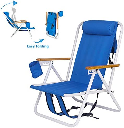 Portable Backpack Beach Chair Patio Folding Lightweight Camping Chairs Outdoor Garden Park Pool Side Lounge Chair with Cup Holder
