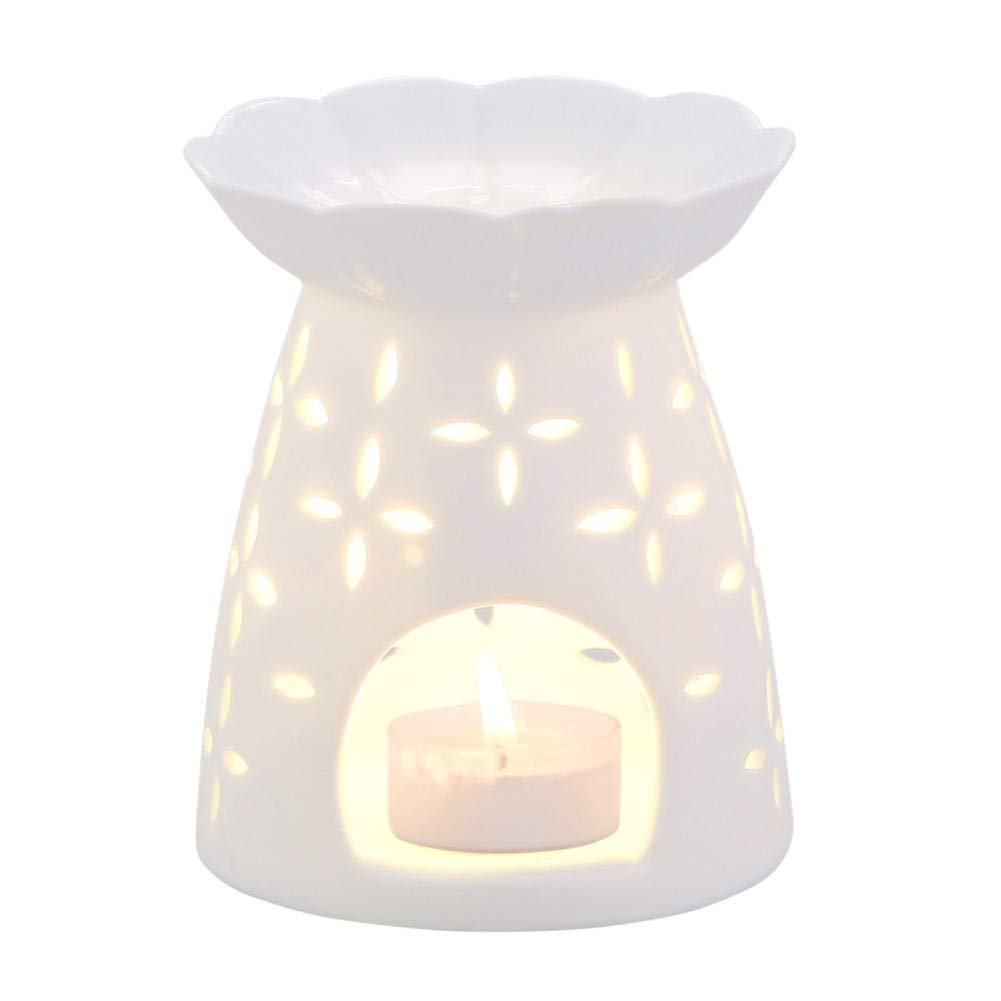 NJCharms Tealight Holder Aromatherapy Essential Oil Wax Candle Tart Burner Warmer Diffuser Aroma Ceramic Candle Warmers Porcelain Decoration for Parlor Bedroom Carved Clover Shape White