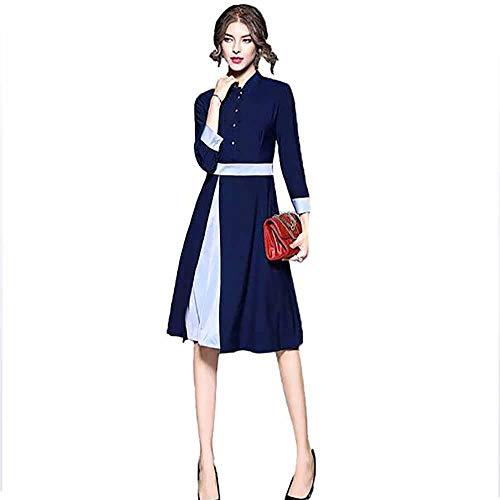 Gran Talle Alto Tamaño Para Vestido Mujeres Mini Navy Manga De Larga EqR7Z8