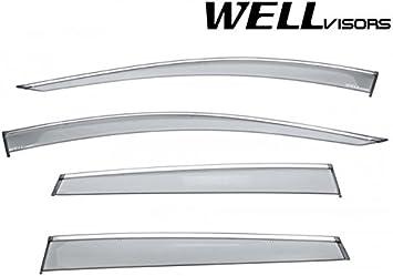 WELLVISORS Side Window Defectors Visors W// Chrome Trim For Audi Q7 2007-2015