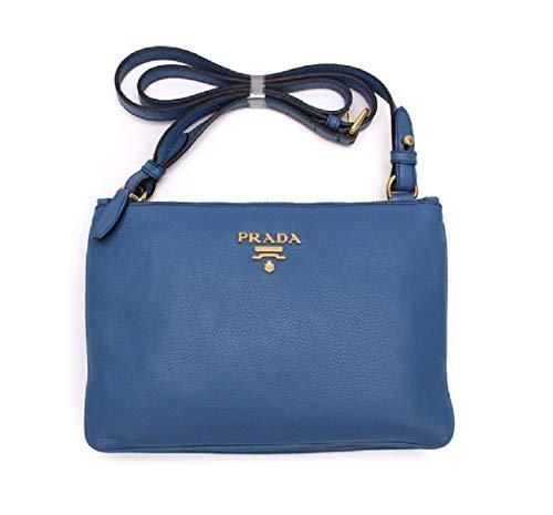 Prada Women's Royal Blue Vitello Phenix Leather Cross Body Bag Handbag 1BH046