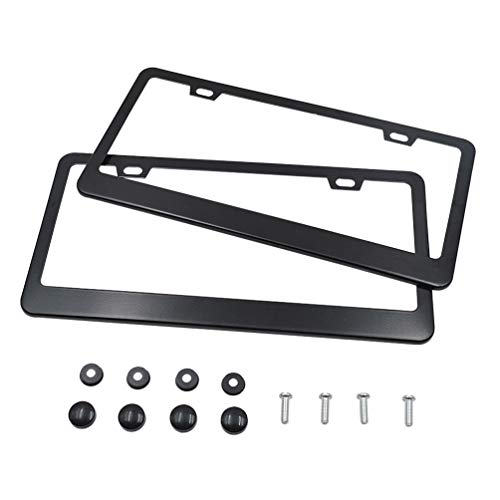TaiTian Black Stainless Steel License Plate Frame-2 Pcs 2 Holes High-end Mirror Polished Car Licence Plate Covers Slim Design with Screw Caps Fits Any Standard US ()