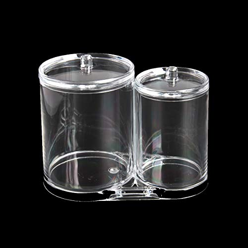 yalansmaiP 1 Pack Clear Acrylic Cotton Ball Holder 2 Compartment Round Q-tip Container with Lid Makeup Organizer Storage Box for Cotton Swab Ball Pad Floss Picks for Bathroom